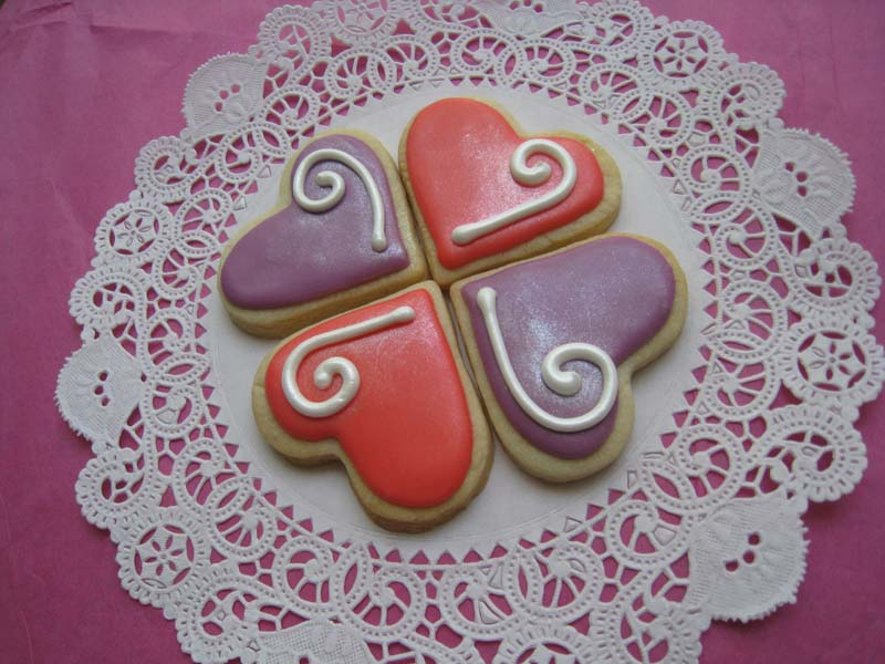 Hearts - pink/purple swirls