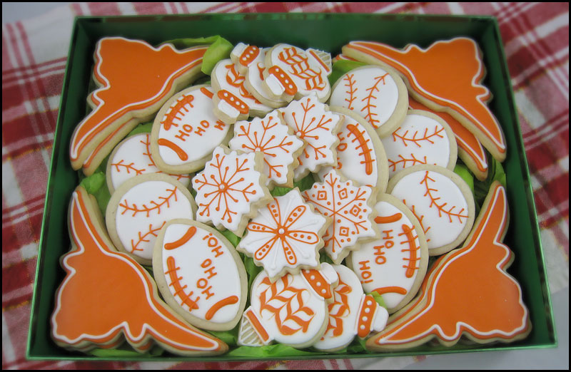 Longhorn theme christmas cookies