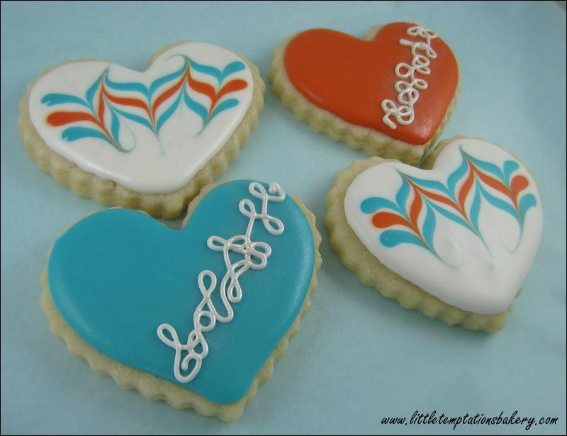 Aqua-Teracotta Hearts